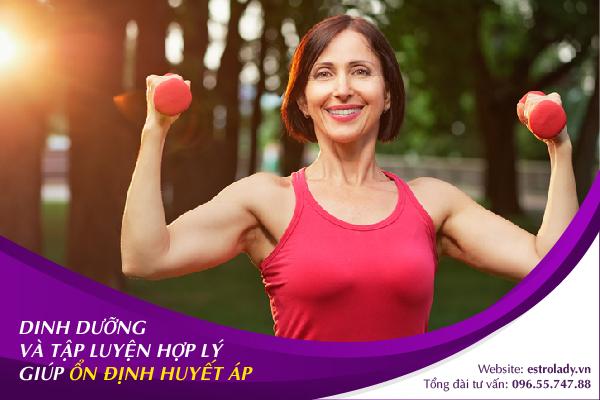 dinh dưỡng và tập luyện hợp lý giúp ổn định huyết áp